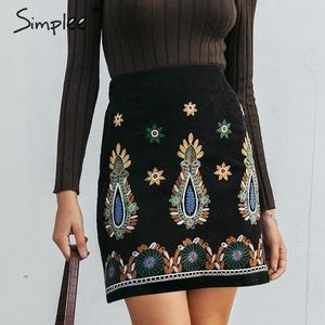 Black Lightweight Corduroy Skirt w/ Embroidery Lg